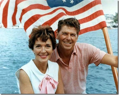 Ronald Reagan with the flag